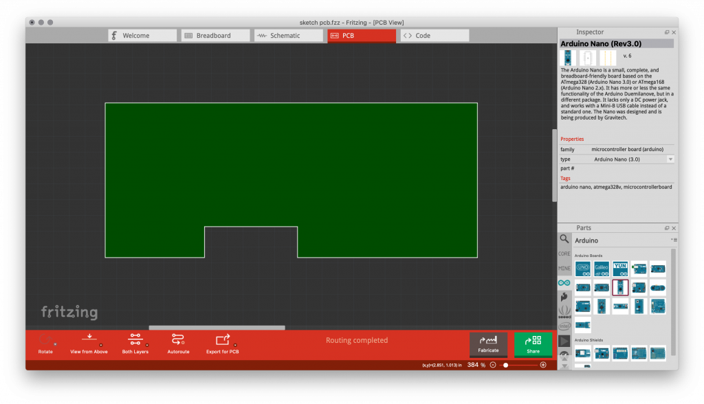 Image of a custom PCB design in Fritzing