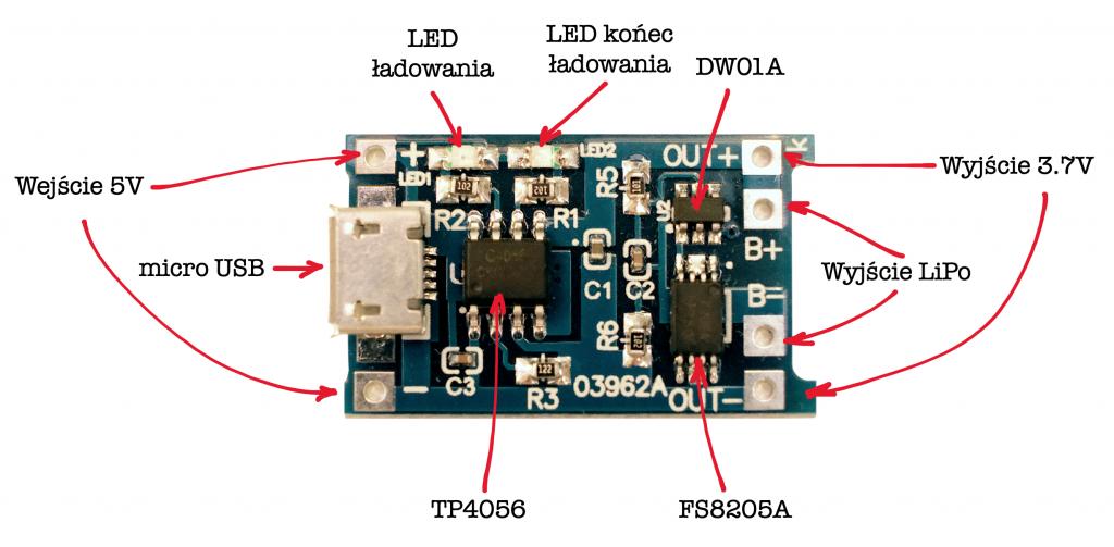 Części w module TP4056
