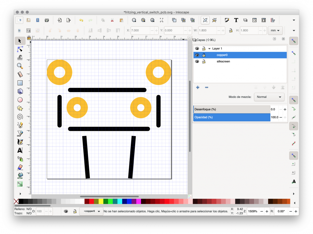 Screenshot of Inkscape with the drawing of the vertical push button PCB view to be included in Fritzing