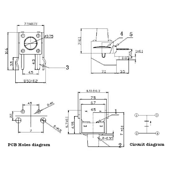 Design and measurements of the vertical push button developed during the tutorial to show how is the process of creating custom parts for Fritzing.