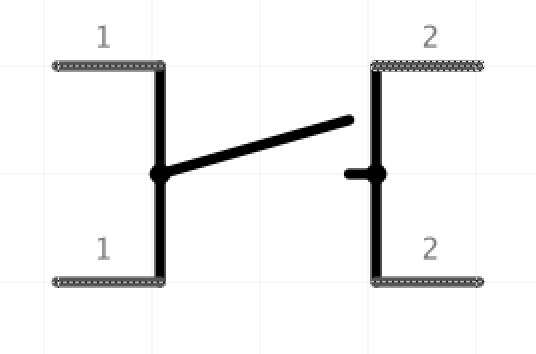 Predefined schematic view of the push button in Fritzing.