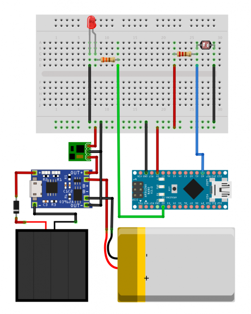Diagram showing an example with all the connections required to power Arduino projects with a solar panel.
